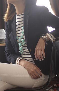 navy jacket, striped shirt, necklace, white pants