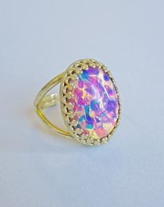 Fiammetta Glass Fire Opal Ring — Eclectic Eccentricity Vintage Jewellery