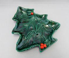 Vintage Lefton Japan Christmas Tree & Holly Dish - Lefton