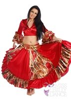 Belly Dance Satin Giraffe Patterned Top-Skirt & Belt Costume Set | Gala Night