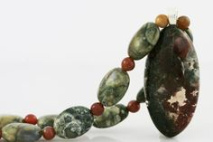 Green and Red Moss Agate Pendant Necklace on Beaded Strand of Green Rhyolite and Indian Agate Beads $40 USD Only 1 available #mossagate #greennecklace #agatenecklace  #stonenecklace #giftforher