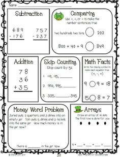 Math review for second grade--great for morning work or homework--FREE sample pages--click on preview