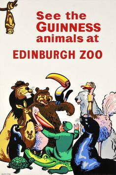 See the Guinness animals at Edinburgh Zoo. - Vintage Poster