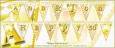 Happy Anniversary bunting featuring artistic photographs of beautiful roses - choice of lettering and backgrounds.