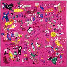 Hermès Les Confessions Hermes silk twill scarf, hand rolled, 90 x 90 Designed by Flavia Zorrilla Drago Silk Scarves, Hermes Scarves, Hermes Bracelet, Hermes Paris, French Chic, Neckerchiefs, Fuchsia, Gift List, Colorful Fashion