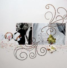 white back ground - bling flourishes, very elegant and understated wedding scrapbook layout