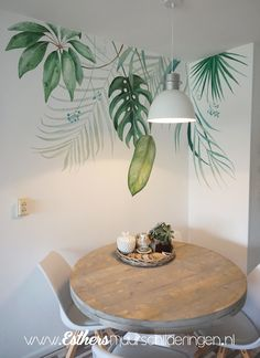 Botanische muurschildering van groene bladeren. Wall Painting Decor, Mural Wall Art, Nursery Wall Decor, Home Wall Decor, House Painting, Baby Room Art, Baby Room Decor, Flur Design, Wall Design