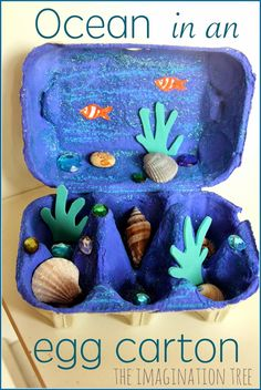 Egg Carton Crafts for Kids! Make one today! Ocean in an egg carton. 20 Adorable Egg Carton Crafts for Kids! Make one today! The Flying Couponer. Kids Crafts, Summer Crafts, Toddler Crafts, Projects For Kids, Diy For Kids, Art Projects, Arts And Crafts For Kids Toddlers, At Home Crafts For Kids, Disney Crafts For Kids
