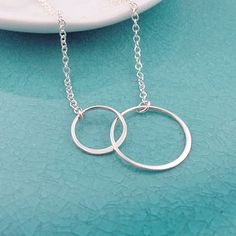 Double Eternity Circle Necklace, all sterling silver, sisters, best friends necklace, gift for her, eternal love on Etsy, $26.00