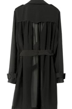 #Romwe Double Breasted Black Trench Coat
