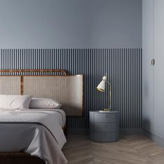 Bedroom blues: For an apartment in Kiev, Ukrainian architecture studio rendered this elegant space. Working with refined,… Elegant Home Decor, Elegant Homes, Cheap Home Decor, Blue Bedroom, Modern Bedroom, Mirrored Bedroom, Serene Bedroom, Bedroom Simple, Bedroom Rustic