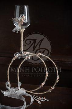 Σετ χειροποίητα στέφανα σε vintage ύφος με σχοινί κ πορσελάνινα λουλούδια με ασορτί ποτήρι