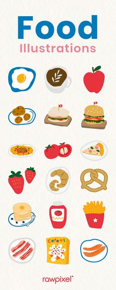 Food Stickers, Printable Stickers, Fruit Illustration, Food Illustrations, Design Set, Free Design, Food Doodles, Simple Doodles, Aesthetic Stickers