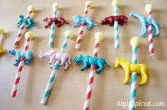 Carnival Carousel or Circus Cake Topper Tutorial from straws and plastic animals
