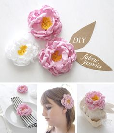 DIY Fabric peonies in Decoration for babies, children and adults parties, for events such as anniversaries or birthdays or dinners