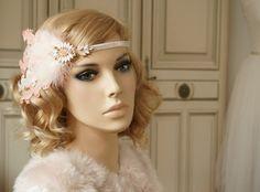 Headpieces & Fascinators - Romantischer Flapper Haarband 20 er apricot nude  - ein Designerstück von Elizabethmode bei DaWanda