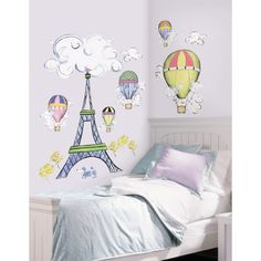 Eiffel Tower and Hot Air Balloons Wall Stickers