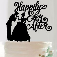 Happily Ever After Acrylic Silhouette Wedding Cake Topper - Wedding Look