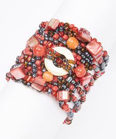 Love this Red & Black Mermaid Stretch Bracelet by The Beaded Soul on #zulily! #zulilyfinds