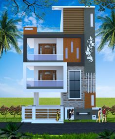 2 Storey House Design, Bungalow House Design, House Front Design, House Design Photos, Small House Design, Modern House Design, Residential Building Design, Home Building Design, House Elevation