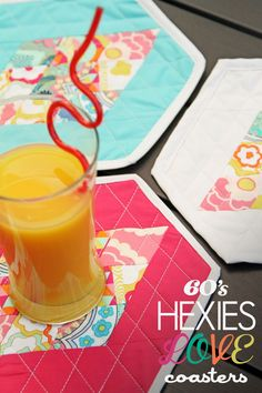 Fat Quarter Gang Tutorial - 60s Hexies Love Coasters by Soulful Eyes