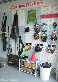 When we planned out our garage organization, we organized everything into zones so each type of equipment or item gets a specific section of the wall or floor space.