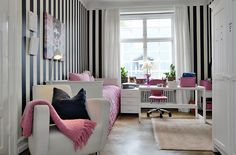 Home-Styling: Black & white stripes and pink * Riscas Preto e Branco e Rosa