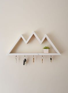 5 hooks mountain jewelry rack entryway organizer gift for her accessory storage bathroom shelf keyrack wall mounted necklace holder - Wood Design
