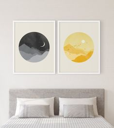 Sun and Moon - Wall Art Set of inches - Sun and Moon Bedroom Wall Decor, 2 Piece Set, Yellow and Grey – Eve Sand - Wall Art Sets, Diy Wall Art, Watercolor Unicorn, Moon Decor, Sun Wall Decor, Grey Wall Decor, Boutique Deco, Moon Painting, Wall Painting Frames