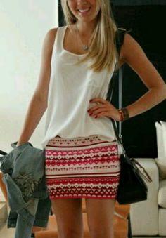 Pink Aztec skirt