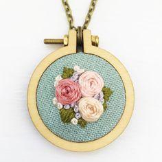 Handstitched Floral Mini Hoop Necklace ♥ Handstitched floral embroidery hoop…