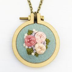 Handstitched Floral Mini Hoop Necklace ♥ Handstitched floral embroidery hoop necklace stitched on a lovely linen fabric ♥ The pendant measures