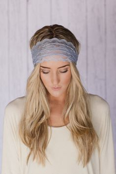 Grey Lace Headband Wide Stretch Lace Headband Platinum Gray Lace Headband Wide All Lace Hair Band Wrap. $12.99, via Etsy.