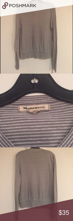 John Varvatos Gray White Stripe Linen Cotton Vneck Grey and white stripe John Varvatos USA 55% linen, 45% cotton v-neck sweater.  Large but fits a bit small right out of the wash, a big medium, small large. John Varvatos Sweaters V-Neck