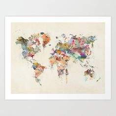 Buy world map watercolor Art Print by bri.buckley. Worldwide shipping available at Society6.com. Just one of millions of high quality products available.