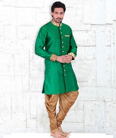 Buy Green Banglori Silk Readymade Indo Western Suit 72016 online at lowest price from our mens wear collection at Indianclothstore.com.