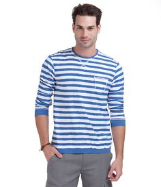 Camiseta masculina  Manga longa  Gola redonda  Listrada  Com bolso frontal  Marca: Blue Steel  Tecido: Algodão  Composição: 100% algodão  Modelo veste tamanho: M         COLEÇÃO VERÃO 2015       Veja outras opções de    camisetas masculinas.