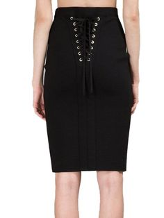 b185a5b17ece46 Choies Women's Black High Waist Laced Back Pencil Skirt at Amazon Women's  Clothing store: