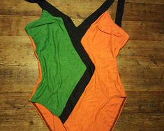 Vintage 80s gaat 70s kleuren badpak maat kleine medium
