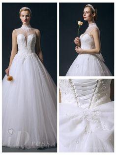 Illusion High Neckline Beaded Princess A-line Wedding Dress