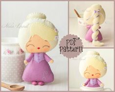 "This PDF sewing pattern is to make a Rapunzel doll pictured from felt fabrics. These dolls are hand sewn.    Size: 7"" tall approximately    Language:"