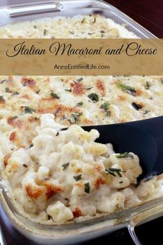 Italian Macaroni and Cheese Recipe; a delicious, extra cheesy take on traditional mac and cheese, this Italian Macaroni and Cheese recipe will have your entire family asking for seconds. Simply an outstanding Italian macaroni and cheese recipe. by kellie Italian Macaroni And Cheese Recipe, Macaroni Cheese, Mac Cheese, Baked Macaroni, Cheese Food, Pasta Dishes, Food Dishes, Main Dishes, La Trattoria