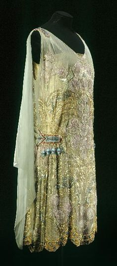 Maison Agnès, Beaded & Embroidered Evening Dress of Green Watered Silk, Paris, c. 1925.