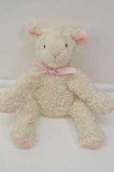 "SMALL #Koala #Baby Cream White Plush #Lamb Sheep Pink Satin Bow PLASTIC Eyes 7"" #KoalaBaby"