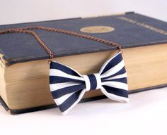 Bow Tie Necklace  Nautical Stripes  White and Blue by Fr33na, $11.00