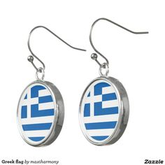 Greek flag earrings