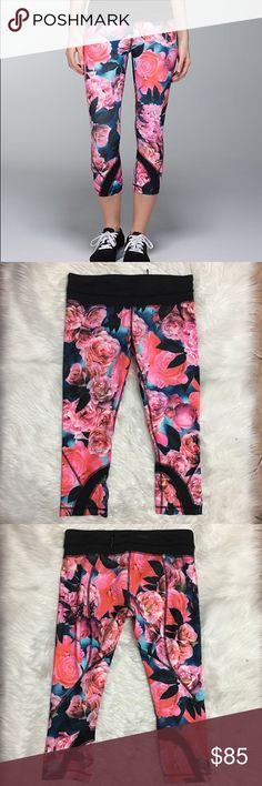 Lululemon Secret Garden Crops Brand new with out tags. Really rare print lululemon athletica Pants Leggings