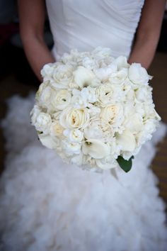 Another beautiful all white bridal bouquet from hanafloraldesign.com, Photography by ashleytheresephotography.com