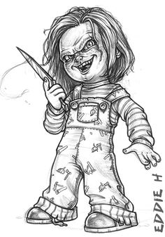 Chucky the Good Guy is part of Chucky drawing - A drawing i did of the coolest killer doll ever! Chucky Chucky the Good Guy Horror Movie Tattoos, Horror Movie Characters, Scary Drawings, Halloween Drawings, Arte Horror, Horror Art, Chucky Drawing, Chucky Tattoo, Desenhos Halloween