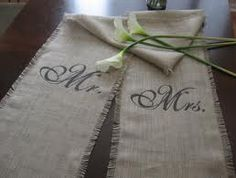 Mr. and Mrs. Wedding Table Runners - Burlap.